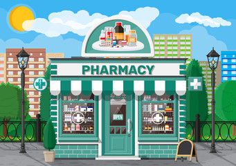 Facade pharmacy store with signboard. Exterior of drugstore. Medicine pills capsules bottles vitamins and tablets on showcase. Storefront shop building, nature cityscape. Flat vector illustration