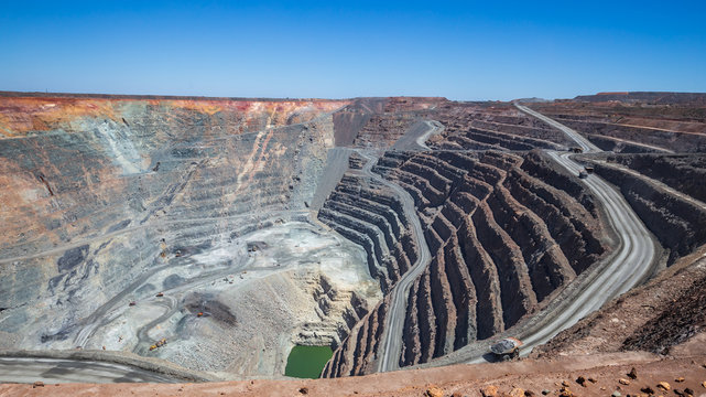 The Kalgoorlie Super Pit, one of the largest gold mines in the World. Gold was discovered in Kalggorlie in 1892.