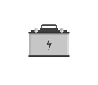 Car battery icon. Vector illustration, flat design.