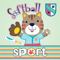 vector cartoon of cat the softball player