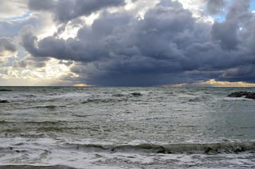 Russia, Krasnodar region, Dzhubga. Storm on the Black sea in october