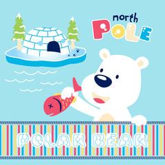 vector cartoon of cute polar bear with fish, igloo, trees.