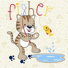 cute cat cartoon fishing on fish bone background pattern