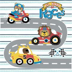 Garden Poster Cartoon cars vector cartoon of all kinds of races, with funny animals racer