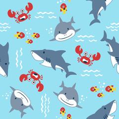 vector seamless pattern with marine animals cartoon, shark, crab, fish