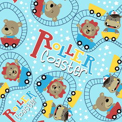 seamless pattern with animals cartoon on roller coaster, lion, hippo, bear