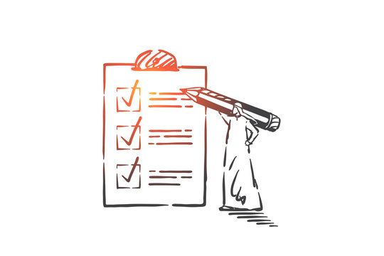 Checking to-do list, planning activities concept sketch. Hand drawn isolated vector