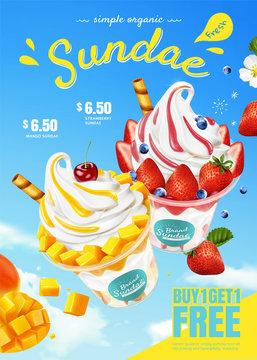 Mango and strawberry sundae ads