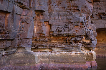 Close up view of erosion in the walls of the canyon of the King George River - Northern Kimberley..A very wild and remote place accessible only by boat or helicopter.