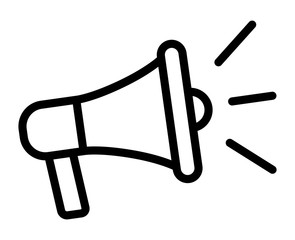 Electric megaphone with sound or marketing advertising line art vector icon for apps and websites