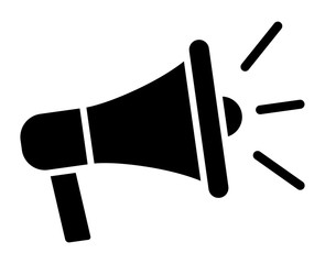 Electric megaphone with sound or marketing advertising flat vector icon for apps and websites