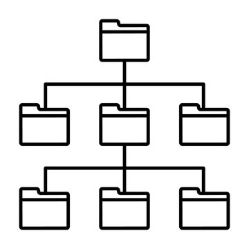 File system or filesystem with folders and directories line art vector icon for apps and websites