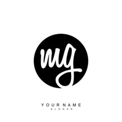 Initial letter MG beauty vector handwriting concept logo