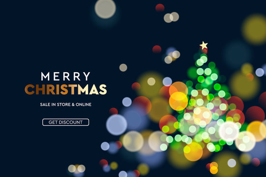 2020 New Year. Christmas tree sparkle blur bokeh effect horizontal background . Dark Xmas backdrop. Text Merry Christmas. Vector illustration for web banners invitation poster