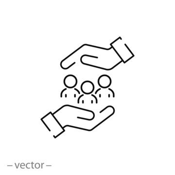 protecting people icon, charity, concept safe people in hands, help to community, love to family thin line symbol on white background - editable stroke vector illustration eps 10