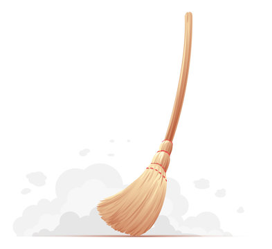 One big yellow broom sweep floor with long wooden handle isolated, household implement from dust and dirt