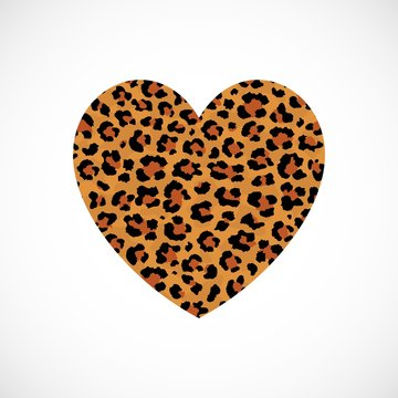Vector Heart with leopard print isolated on white background. Modern animal fur fashion design element. Exotic wild African animal realistic skin into a heart. Love and Save Leopard concept.