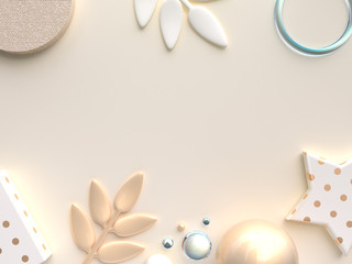 gold yellow cream flat lay chritmas decoration background 3d rendering