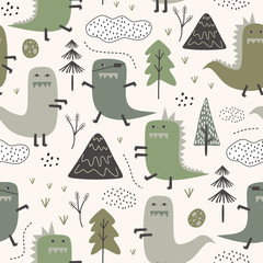 Cute dino seamless pattern with jungle theme. Childish dinosaur with hand drawn tree, mountain, and clouds in scandinavian style.
