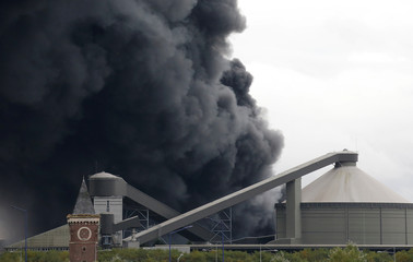 Smoke billows from a large fire that broke out at a factory of Lubrizol in Rouen