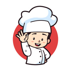 Cute chibi pouring secret ingredients, logo mascot illustration