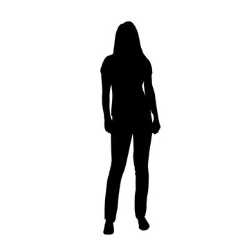 Woman standing, isolated vector silhouette, front view