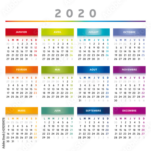 Calendrier 1er Trimestre 2020.Calendrier 2020 4 Colonnes 4 Trimestres Couleurs Arc