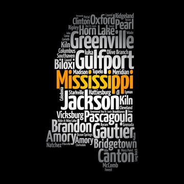 List of cities in Mississippi USA state, map silhouette word cloud map concept