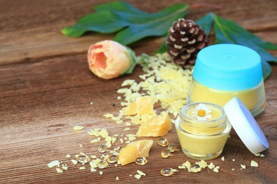 Homemade natural lip balm. Made from beeswax, sheabutter, olive and coconut oil mixed together.