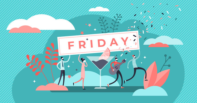 Friday vector illustration. Flat tiny last work week day persons concept.