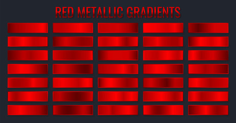 Collection red metallic gradients, chrome christmas gradient set. Vector illustration
