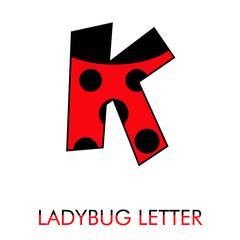 Obraz Logotipo letra K como patrón de mariquita en rojo y negro - fototapety do salonu