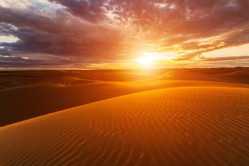 Foto auf Leinwand Ziegel Sunset over the sand dunes in the desert