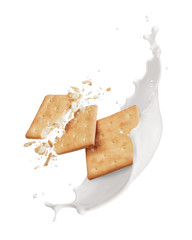 Wall Mural - crackers with milk