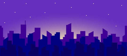 Papiers peints Bleu fonce Seamless panorama of the night city landscape with a rising moon and stars. Vector endless horizontal illustration