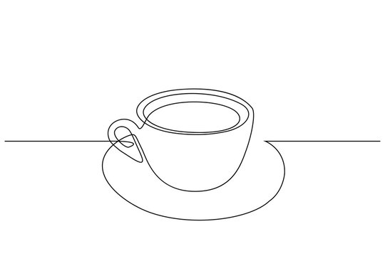 Coffee cup in continuous line art drawing style. Black line sketch on white background. Vector illustration