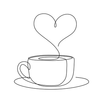 Hot coffee cup with heart shape aroma steam in continuous line art drawing style. Black line sketch on white background. Vector illustration