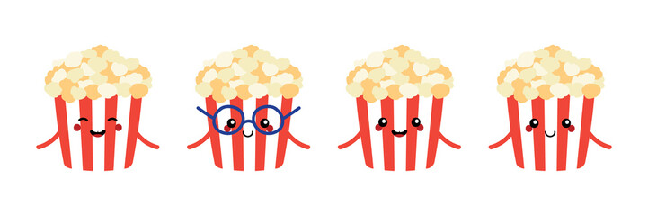 Set, collection of cute and funny cartoon popcorn characters isolated on white background.