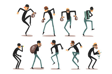 Male thief in mask set, robber cartoon characters committing crimes vector Illustrations on a white background