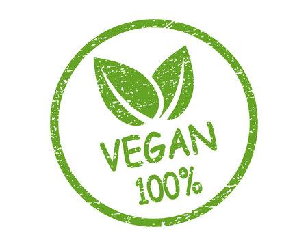 Organic 100% vegan design template raw healthy food. Vector illustration icon.