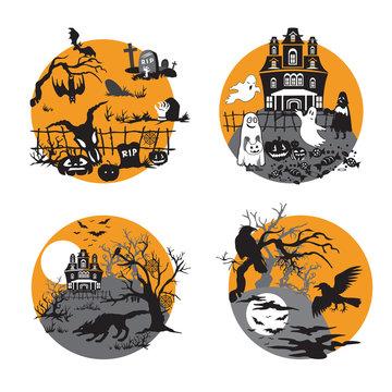 Vector halloween set 9