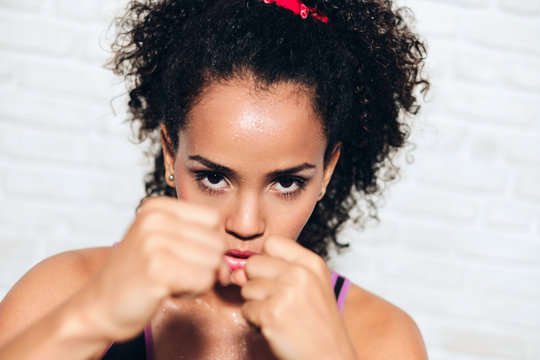 Strong African American Girl Black Woman Fighting For Self Defense