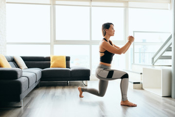 Adult Woman Training Legs Doing Inverted Lunges Exercise