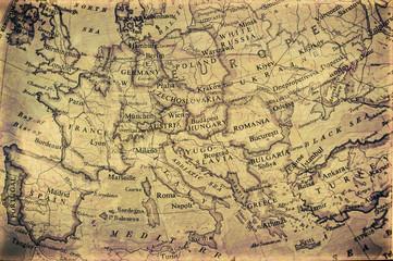 old grunge map of europe