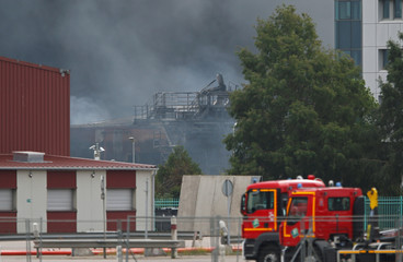 Dark smoke fills the air after a large fire broke out at a factory of Lubrizol in Rouen