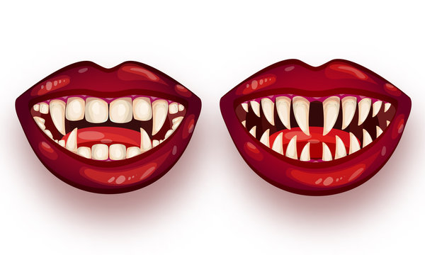 Set of monster mouth on white background.