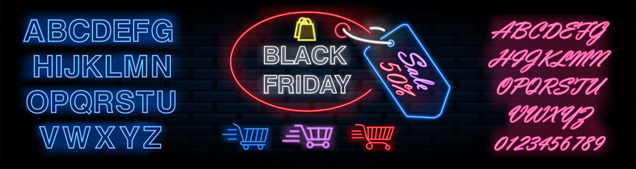 Black Friday neon lettering on brick wall background with the the set of letters and numbers. Vector illustration