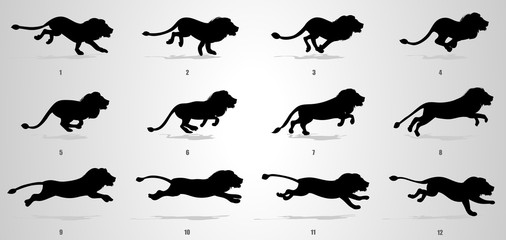 Lion run cycle animation sequence silhouette