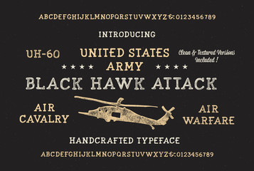 Handmade Modern Military Textured Font. Retro Typeface. Clean & Textured Versions Included. Vector Illustration.