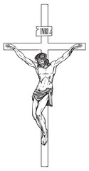 Vector illustration of the religious symbol crucifixion. Jesus Christ, the Son of God with a crown of thorns on his head, a Catholic symbol. Cross with crucifix and inscription INRI, pencil drawing.